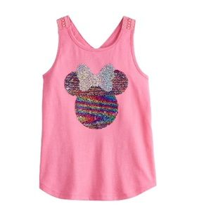 ☀️Disney Minnie Mouse girls flip sequins tank top